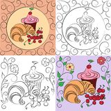 Sweets. Vector illustration with cake, croissants and cherries Royalty Free Stock Photos