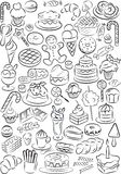 Sweets. Vector illustration of sweet food collection in black and white Royalty Free Stock Photography