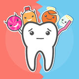 Sweets versus hygiene dental concept. Stock Photo