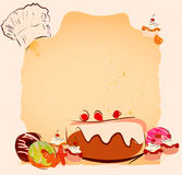 Sweets Vintage Recipe Template Stock Photo