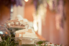 Sweets on the wedding table. Vintage color. Royalty Free Stock Photo