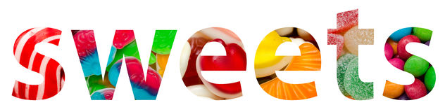Sweets Word Made Of Colorful Delicious Candy stock photo