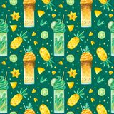 Sweets and yummies hand drawn seamless pattern. Milkshakes, pineapple, carambola and kiwi color drawing.
