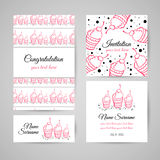 SweetsCards. Set of postcards with hand drawn ice cream. Vector illustration Royalty Free Stock Image