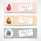 Sweetshop cupcakes banners set Royalty Free Stock Images