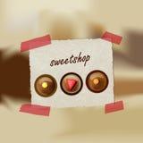 Sweetshop invitation card. Stock Photos