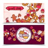 Sweetshop vintage candy banners set. Sweetshop vintage chocolate cupcakes desserts confectionary store ginger boy cookies horizontal banners set abstract Stock Photo