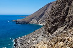 Sweetwater bay (nudist beach). View of the remote and famous Sweet Water Beach in south Crete. This is a nudist beach stock photography