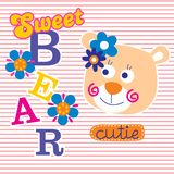 Sweety bear funny animal cartoon,vector illustration. For t shirt and wallpaper or book vector illustration