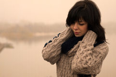 Sweety emotional lady with dark hair stands alone Royalty Free Stock Photo