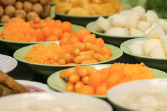 Sweety Gloden Drop Thai Desserts and fruits on dish in banquet Stock Photos
