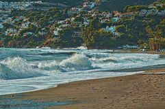Beach in the morning of the horseshoe andalusia spain royalty free stock image