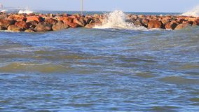 Swell on Mediterranean sea in Pyrenees orientales, France stock footage