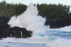 Swell rolling over volcanic rocks at Reunion Island Stock Photos