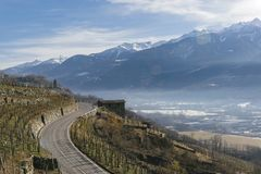 Swerving roads in Valtellina, a valley near Sondrio in the Lombardy region of northern Italy, bordering Switzerland. Swerving roads in Valtellina, a valley near Stock Image