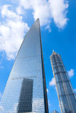 SWFC and Jin Mao Tower. Shanghai World Financial Center and Jin Mao Tower are tallest buildings in Shanghai Pudong Lujiazui. They are travel sences with hotel in Stock Photo