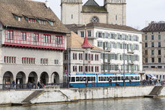Swicherland,苏黎世, 2016年6月21日:苏黎世市,瑞士 免版税库存照片