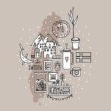 Swiden doodle ustawia z symbolami, flaga i mapą, obraz stock