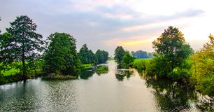 Swider river in Radachowka vilage near Warsaw. In Poland. Photo in Facebook advertisement format Royalty Free Stock Image