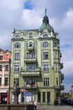 Green tenement house in Swidnica, Poland. Swidnica, Poland - May 05, 2016: Old green tenement house. Swidnica lies in Lower Silesian Voivodeship, being the stock images