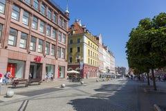 Swidnicka ulica w centrum Wrocławski, Polska obraz stock