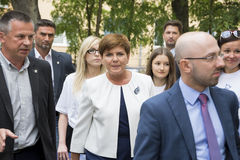 SWIDNIK, POLAND - AUGUST 21, 2015: Beata Szydlo during parliamen Royalty Free Stock Photography