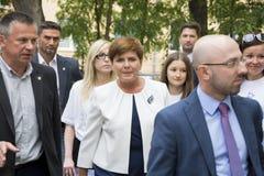 SWIDNIK POLSKA, SIERPIEŃ, - 21, 2015: Beata Szydlo podczas parliamen Fotografia Royalty Free