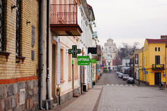 Swiecie street view. Street view with stores and shops in Swiecie, Poland Royalty Free Stock Images