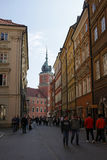 Swietojanska Street with Royal Castle in the Old Town of Warsaw, Poland Stock Images