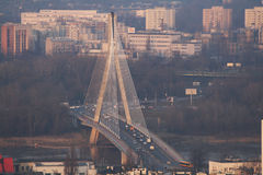 Swietokrzyski. Bridge seen from Palace of Culture and Science wich stands in the midst of Warsaw. Behind its is seen Praga district on right (east) bank Stock Images