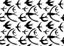 Swift Birds Pattern black white Royalty Free Stock Image