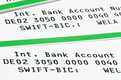 Swift-Code. And IBAN on a bank statement Royalty Free Stock Photo