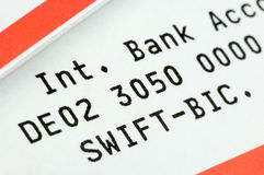 Swift-Code. And IBAN on a bank statement Royalty Free Stock Photography