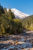 Swift Creek Riviera mit schneebedecktem Berg-B?cker im Hintergrund an den Nordkaskaden stockfotos