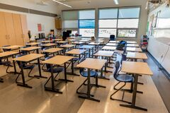 Free Swift Current, SK- September 2, 2019: Interior Of Bright, Empty School Classroom: Back To School Concept, Coronavirus Concept Royalty Free Stock Images - 177660509