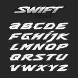 Swift fast strong futuristic alphabet lettering. Vector font. Latin letters. Swift fast strong futuristic alphabet lettering.Vector font. Latin alphabet letters vector illustration