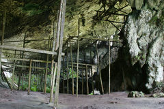 Swift Nest Caves. Wooden structures used by swift nest collectors, Borneo, Malaysia Royalty Free Stock Photo