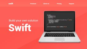Swift programming code technology banner. Swift language software coding development website design stock illustration