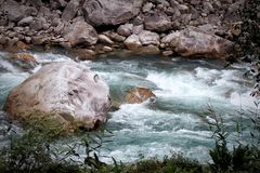 River flowing through the rocks Royalty Free Stock Image