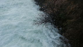Swift stream of mountain river on spring day. stock video footage