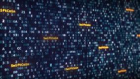 SwiftCoin加说明出现在改变在屏幕上的十六进制标志中 3d翻译 库存图片