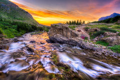Swiftcurrent Creek at Dawn Stock Photos