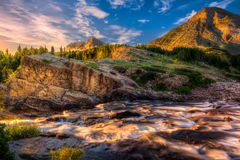 Swiftcurrent Creek at Dawn Stock Photo