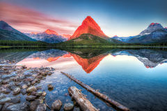 Swiftcurrent Lake at Dawn Stock Image