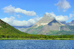 Swiftcurrent lake in high alpine landscape on the Grinnell Glacier trail, Glacier national park, Montana Royalty Free Stock Image