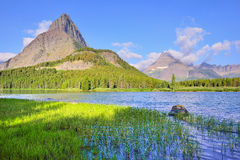 Swiftcurrent lake in high alpine landscape on the Grinnell Glacier trail, Glacier national park, Montana Royalty Free Stock Photos