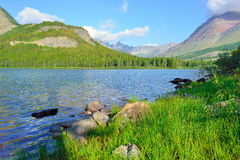 Swiftcurrent lake in high alpine landscape on the Grinnell Glacier trail, Glacier national park, Montana Royalty Free Stock Photo