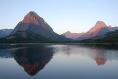 Swiftcurrent Lake and Mountains. At Glacier National Park Royalty Free Stock Photos