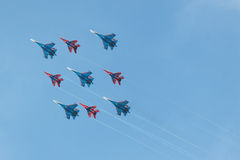 Swifts (Strizhi) and Russian Knights, bottom view Royalty Free Stock Photos