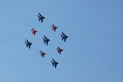 Swifts (Strizhi) and Russian Knights, bottom view Stock Images
